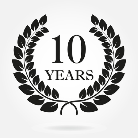 Ilustración de 10 years anniversary laurel wreath sign or emblem. Template for celebration and congratulation design. Vector 10th anniversary label isolated on white background. - Imagen libre de derechos