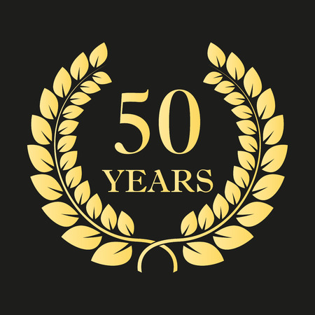 Ilustración de 50 years anniversary laurel wreath icon or sign. Template for celebration and congratulation design. 50th anniversary golden label. Vector illustration. - Imagen libre de derechos