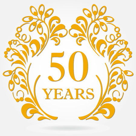 Ilustración de 50 years anniversary icon in ornate frame with floral elements. - Imagen libre de derechos
