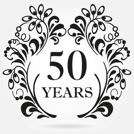 Ilustración de 50 years anniversary icon in ornate frame with floral elements. Template for celebration and congratulation design. 50th anniversary label. Vector illustration. - Imagen libre de derechos
