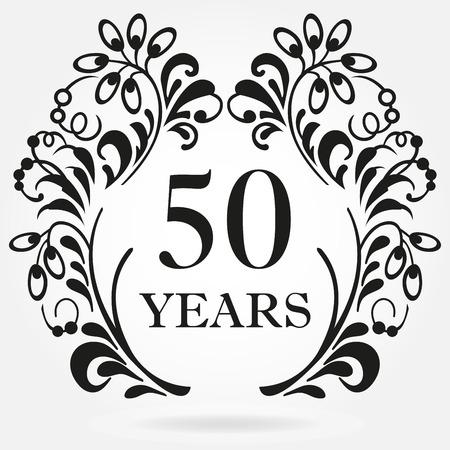 Foto de 50 years anniversary icon in ornate frame with floral elements. Template for celebration and congratulation design. 50th anniversary label. Vector illustration. - Imagen libre de derechos