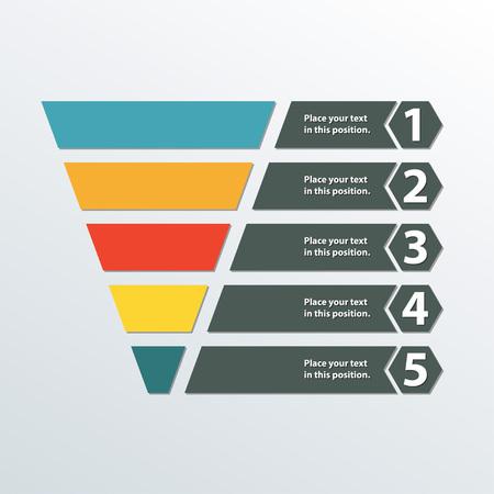 Vektor für Funnel symbol. Marketing and sales template. Business infographic design element. Colorful vector illustration. - Lizenzfreies Bild