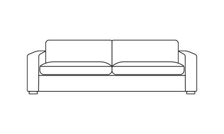 Illustration pour Sofa line icon. Furniture for living room. Outline illustration of modern sofa. Vector. - image libre de droit