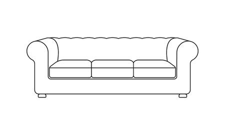 Illustration pour Sofa line icon. Vintage or retro sofa. Furniture icon. Vector illustration of outline sofa silhouette. - image libre de droit