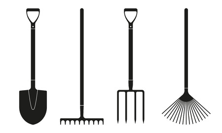 Illustration pour Shovel or spade, rake and pitchfork icons isolated on white background. Gardening tools design. Vector illustration. - image libre de droit