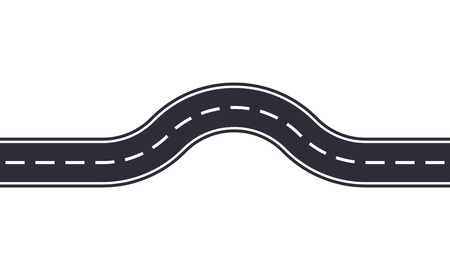Winding road design template isolated on white background. Seamless asphalt road or highway. Vector illustration.