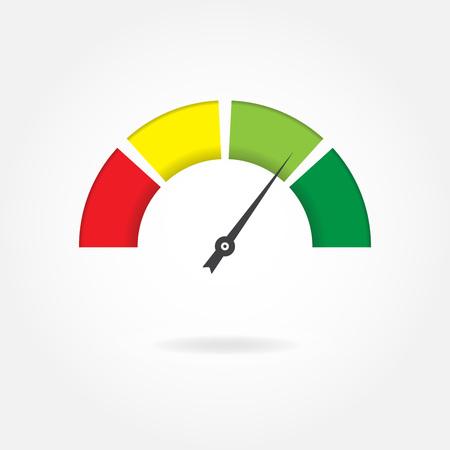 Illustration pour Speedometer icon. Meter or gauge design element. Colorful vector illustration. - image libre de droit