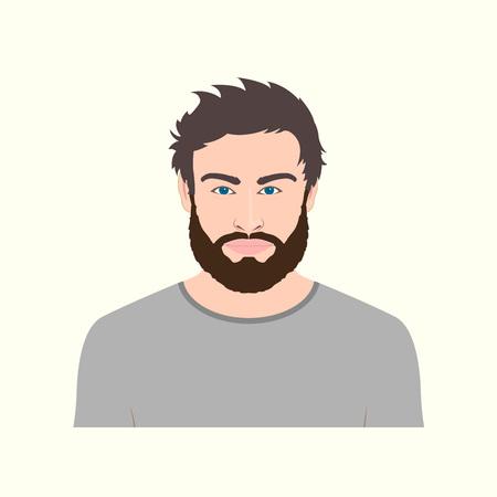 Illustration pour Man portrait with beard. Vector illustration of male character. - image libre de droit