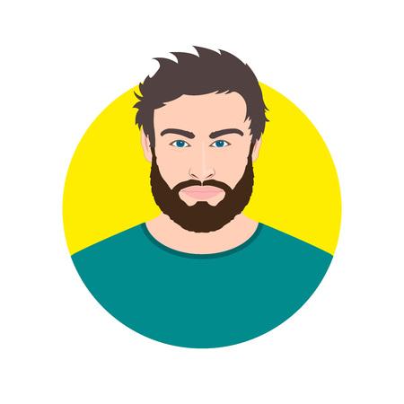 Illustration pour Man face avatar with beard. Male portrait. Vector illustration. - image libre de droit