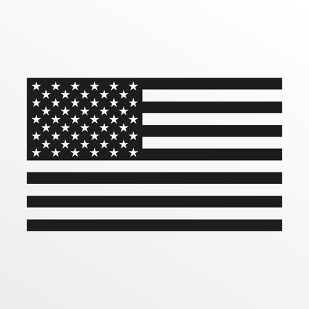 Illustration pour USA flag icon. Black and white United States of America national symbol. Vector illustration. - image libre de droit