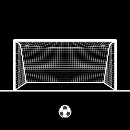 Illustration pour Soccer goal with ball. Football hand drawn post or gate with net. Vector illustration. - image libre de droit