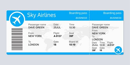 Illustration for Plane ticket template. Airplane flight ticket blank. Boarding pass. Vector illustration. - Royalty Free Image