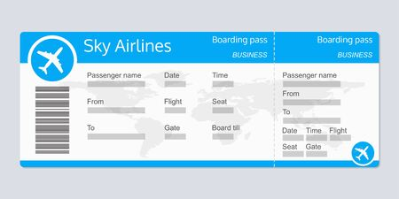 Illustration for Plane ticket template. Airplane flight ticket realistic blank. Boarding pass. Vector illustration. - Royalty Free Image