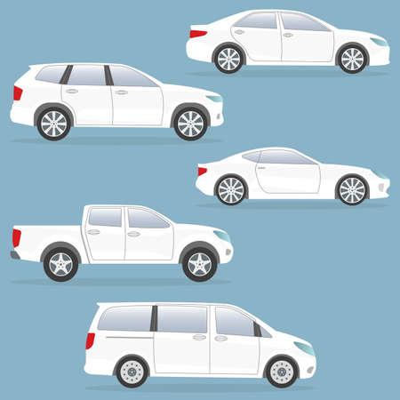 Illustration pour Car or vehicle set. Side view. Different type of cars: sedan, suv, van, pickup, coupe. Vector illustration. - image libre de droit