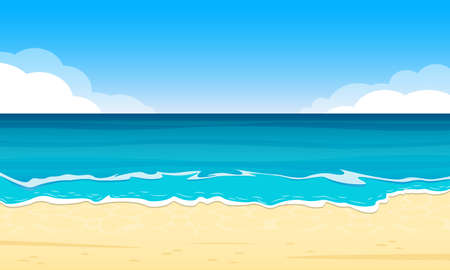 Illustration pour Sandy Beach. Summer Background with Sand Shoe, Sea or Ocean and Sky with Clouds. Tropical Landscape for Travel and Vacation Banner. Vector illustration. - image libre de droit