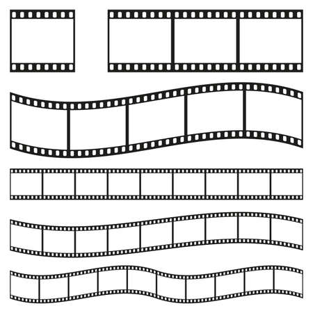 Illustration pour Film strip frame or border set. Photo, cinema or movie negative. Vector illustration. - image libre de droit