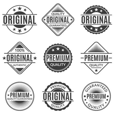 Illustration for Original and Premium quality stamp or seal set. Guarantee label, emblem or badge collection. Vector illustration. - Royalty Free Image
