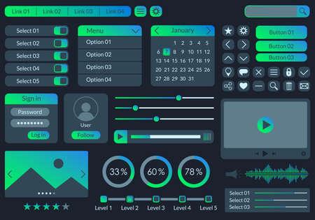 Illustration pour Ui kit design for app, web and mobile. Website interface template with buttons, icons, menu forms. Vector illustration. - image libre de droit