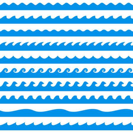 Illustration pour Water wave set. Line waves seamless pattern collection. Sea and Ocean graphic design. Vector illustration. - image libre de droit