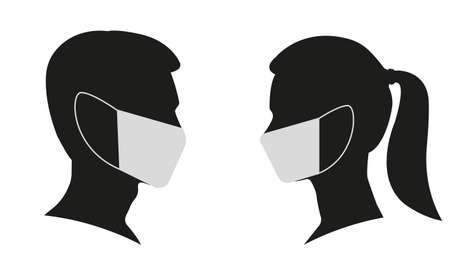 Illustration for Man and Woman profile face silhouette in medical mask. Male and female head illustration. Vector illustration. - Royalty Free Image