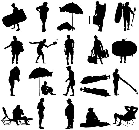 Seniors on beach holiday vector silhouette illustration. Mature persons sunbathing. Older people camping. Sunny day, Skin care protection concept. Old people active summer life. Man and woman on weekend together