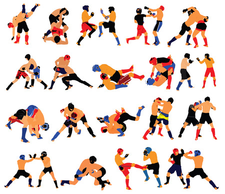 Group of mma fighters vector isolated on white background. Two mma fighters vector in battle.
