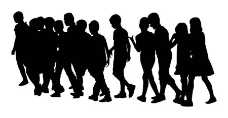 Illustration pour Kids going to school together, vector illustration. Back to School. Happy boys and girls. School kids excursion vector silhouette. Children crowds. Children in big group. Friends cross the street. - image libre de droit