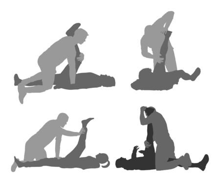 Illustration pour Physiotherapist and patient exercising in rehabilitation center, vector silhouette. Doctor supports sportsman during physiotherapy treatment. Physical exercises massage and chiropractic. Healthcare. - image libre de droit