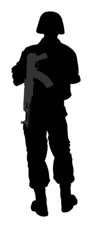 Foto per Army soldier's silhouette vector with rifle isolated on white background. (Memorial day, Veteran's day, 4th of july, Independence day). Soldier keeps the watch, on the guard. - Immagine Royalty Free