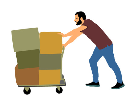 Illustration for Hard worker pushing wheelbarrow and carry big box vector illustration isolated on white background. Delivery man moving package  by cart. Service moving transport. Warehouse job activity. - Royalty Free Image
