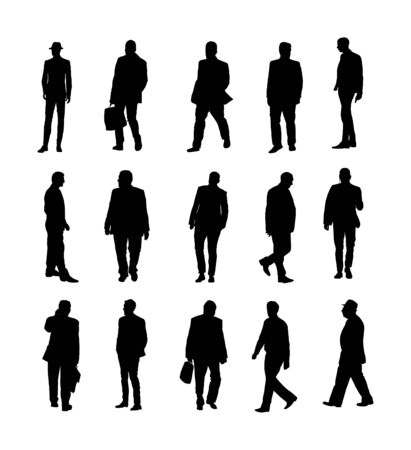 Illustration for Large collection of business people. Confident leader standing. Businessman go to work vector silhouette illustration. Handsome business man in suite with phone. Standing casual pose. Relaxed man. - Royalty Free Image