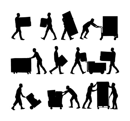 Illustration for Delivery man carrying boxes of goods vector silhouette. Post man with package. Distribution procurement. Boy holding heavy load for moving service. Handy man in move action. Hand transportation method - Royalty Free Image