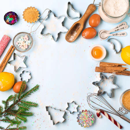 Photo for Baking ingredients for homemade Holiday Christmas pastry on blue rustic wooden background. Xmas bake sweet cake dessert concept. Top view with copy space for your greetings. DIY gift concept. - Royalty Free Image