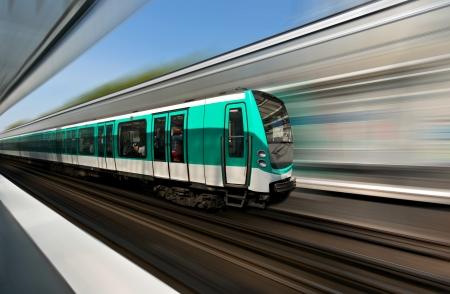 Fast motion of Paris metro train