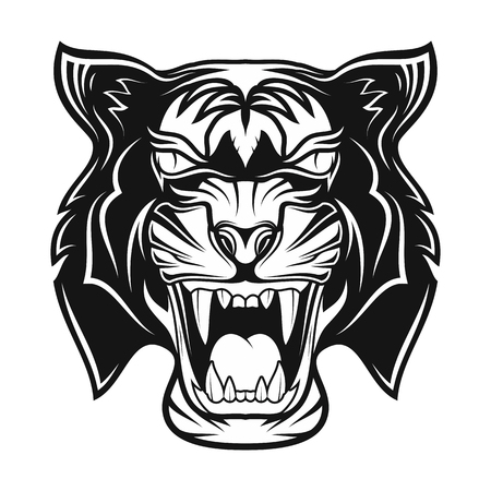 Illustration pour Tiger in rage. Grin of a predator. Black tribal tattoo. Vector image of the head of a tiger. Vector illustration. - image libre de droit