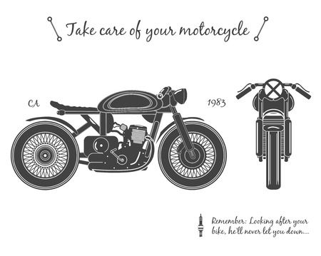 Illustration pour Vintage motorcycle infographic. Cafe racer theme, isolated. vector illustration. - image libre de droit