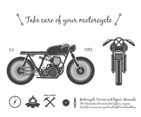 Illustration pour Old vintage motorcycle. cafe racer theme. illustration - image libre de droit