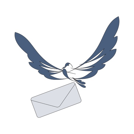 nice image with flying dove and mail
