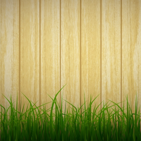 new realistic grass on wooden planks background can use like natural design