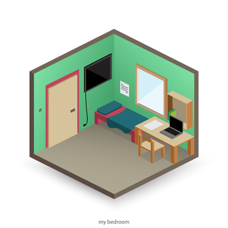 isolated, isometric bedroom with decorative objects and flat style icons. vector interior design