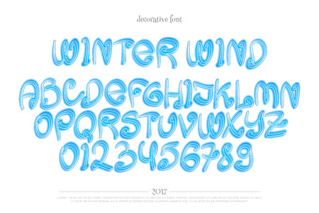 Winter Style Alphabet Letters And Numbers Isolated On White
