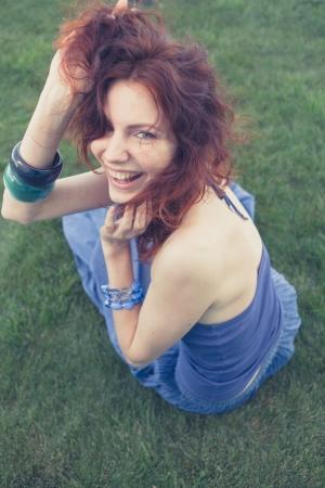 redhead outdoor, vintage look