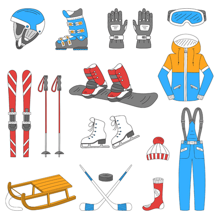 Winter sports collection, snowboard equipment, boots, board, helmet, goggles, protective clothing, ski kit, ice skates, sledge, isolated Winter activity icons hand drawn doodle vector illustrationのイラスト素材