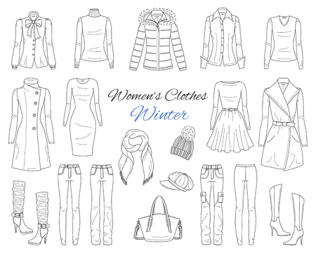 Ilustración de Womens clothes collection. Winter outfit. Vector sketch illustration. - Imagen libre de derechos