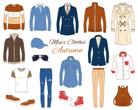 Illustration for Men's Fashion set, clothes and accessories, autumn outfit: coats, leather jacket, jeans pants, shirts, sunglasses, backpack and baseball cap, vector illustration, isolated on white background. - Royalty Free Image