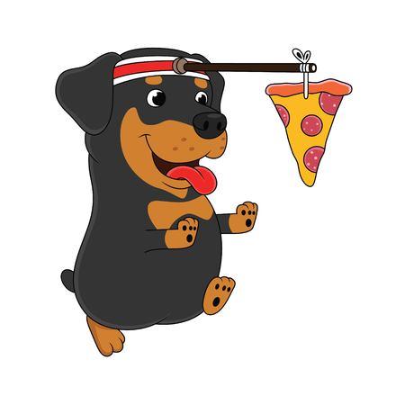 Illustration pour cartoon dog is running chasing pizza - image libre de droit