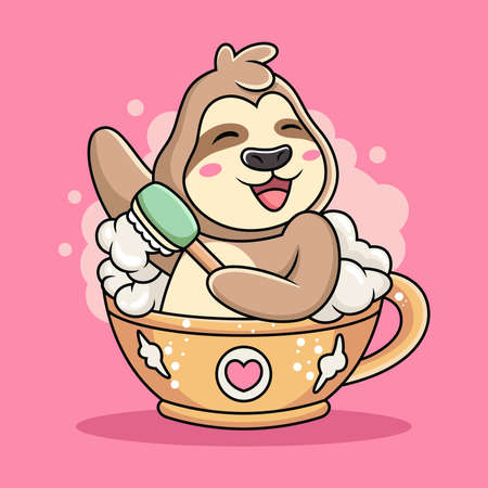 Illustration for Cute Sloth Swim on Cup of Coffee Cartoon. Animal Vector Icon Illustration, Isolated on Pink Background - Royalty Free Image