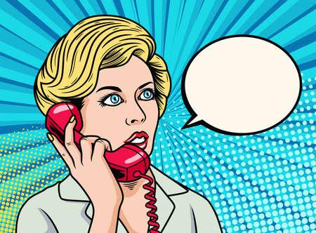 Ilustración de Business Woman talking on the phone. Pop Art Vector Icon Illustration, Isolated on Premium Vector - Imagen libre de derechos