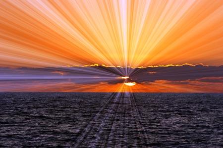 Photo pour over the ocean horizon. - image libre de droit