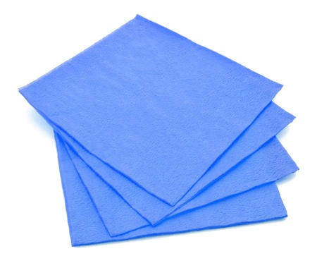 Group of blue paper napkins isolated on white background